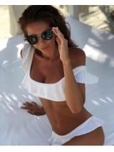 Luxusné dvojdielne biele plavky s volánom Antonina Gatsuli