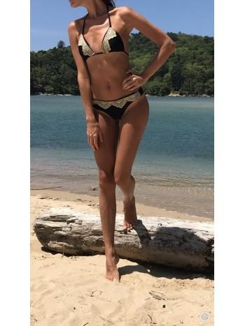 Luxusné trojuholníkové plavky s čipkou Antonina Gatsuli čierne