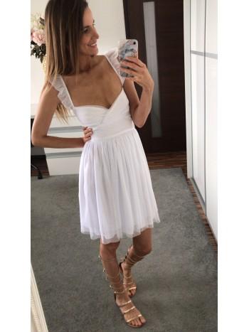 Šaty biele s tylom prekrížené