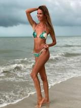 Flitrové plavky smaragd/ béž trojuholníkové