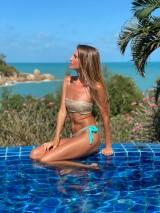 Luxusné flitrové plavky čelenkové s viazačkou na chrbte