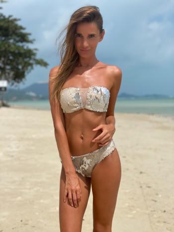 Luxusné trblietavé bandeau plavky Antonina Gatsuli s výstrihom