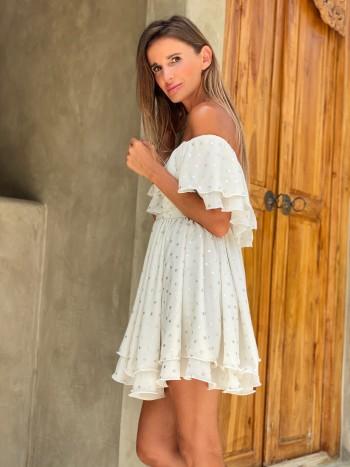 Antonina Gatsuli šaty volánové s odhalenými ramenami